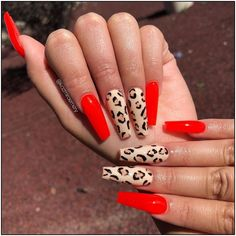 Today we have collected 50 Pretty Nail Designs for you, they are very suitable for this year's trend. Get inspired to make the most out of your coffin shaped manicure with our favorite nail… Summer Acrylic Nails, Best Acrylic Nails, Aycrlic Nails, Swag Nails, Coffin Nails, Nagellack Design, Leopard Nails, Red Leopard, Leopard Animal