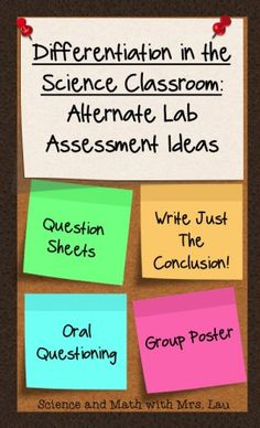 SlidDifferentiation in the Science Classroom: Alternate Lab Assessment Ideas! Help your students show you what they know without writing a full lab report. Blog post by Science and Math with Mrs. Laue1