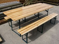 £150 Table: 2000mm (Length) x 800mm (Width) x 780mm (Height). Benches: 2000mm (Length) x 260mm (Width) x 490mm (Height).Large Outdoor Wooden Folding Beer Table Bench Set Trestle Garden Furniture