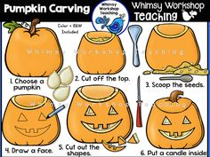 How To Carve A Pumpkin Clip Art Set - Whimsy Workshop Teaching Teaching Colors, Teaching Math, Teaching Resources, A Pumpkin, Batman Pumpkin, Pumpkin Stencil, Sequencing Pictures, Pumkin Carving, Teacher Sites
