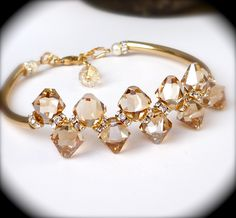 Swarovski Champagne Crystal Bracelet, Rhinestones, Golden Shadow, Gold, Luxury, Bridal Statement Wedding Jewelry. $50.00, via Etsy.