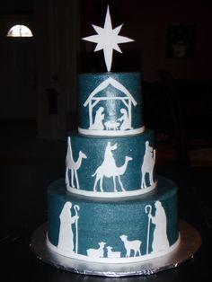 Nativity Christmas Cake ..inspiration for this years chrimbo cake