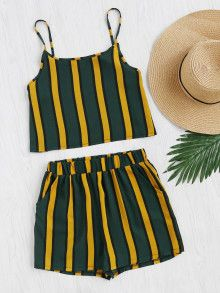 Shop Vertical Striped Crop Cami Top With Shorts online. SheIn offers Vertical Striped Crop Cami Top With Shorts & more to fit your fashionable needs. Cropped Cami, Cami Crop Top, Cami Tops, Women's Tops, Crop Tank, Look Fashion, Skirt Fashion, Fashion Outfits, Womens Fashion