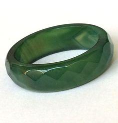 Green Jade Ring Band Semi Precious Natural Stone Eternity Size 7 8 9 USA Seller #Unbranded #Band #StPatricksDayChristmas