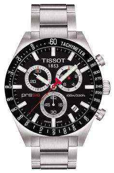 Tissot PRS 516 series takes time to reflect on its motorsport-inspired origins. Wearers of the Tissot PRS models are equipped with timepieces integrating the innovations in Swiss watchmaking to complement nostalgic design elements from the racetrack Fine Watches, Sport Watches, Cool Watches, Black Watches, Cheap Designer Watches, Tissot Prs 516, Tissot Mens Watch, Herren Chronograph, Black Quartz