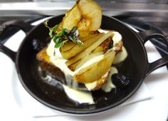 Tuscan Toast, Egg dipped, maple fig sciroppo, roasted pears, mascarpone whipped cream