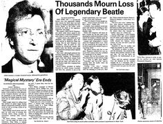 "An article about the shooting of ex-Beatle John Lennon, published in the Centre Daily Times newspaper (State College, Pennsylvania), 9 December 1980. Read more on the GenealogyBank blog: ""34th Anniversary of Ex-Beatle John Lennon's Death."" http://blog.genealogybank.com/34th-anniversary-of-ex-beatle-john-lennons-death.html"
