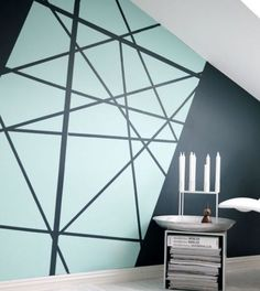 daphnedecordesign_la peinture graphique pour sublimer vos murs: salon 2 nuances de bleu