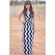Summer Waves Navy Maxi Dress