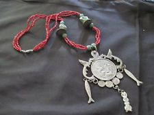 ANTIQUE GUATEMALAN MAYAN CHACHAL COIN BEAD RED NECKLACE MILAGROS fish bird OLD