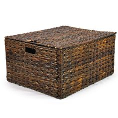 Audrey Mahogany Storage Basket Removable Lid - Large 20in