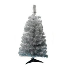 Silver Tinsel Christmas Tree With Stand – 2 Ft / 60cm | Partyrama.co.uk