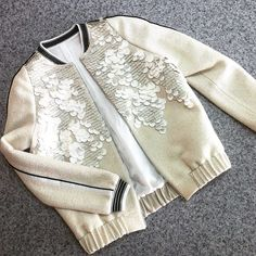 bomber jacket from straws and sequins with velvet piping and a handmade sea. individual tailoring # handmade # own-hand Casual Outfits, Cute Outfits, Fashion Outfits, Fashion Trends, Kids Fashion, Autumn Fashion, Womens Fashion, Fashion Design, Style Fashion