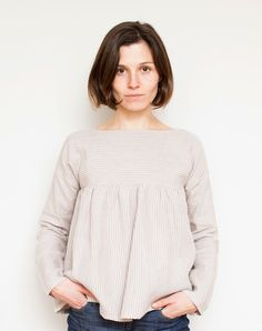 Striped Gathered Blouse (pattern downloaded to computer)