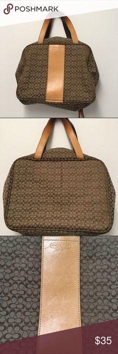 Coach beige jacquard makeup bag Zip around makeup bag. Good condition. No major stains but some pen n light spots on the front tan leather trim. Handle shows some signs of wear. I will get some pics of the inside soon. Coach Bags Cosmetic Bags & Cases