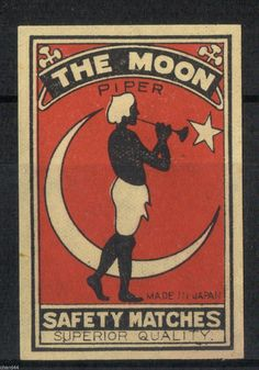 マッチ ラベル OLD MATCHBOX LABEL BOX SIZE JAPAN THE MOON PIPER
