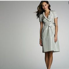J. Crew 100% silk wrap dress - size 0 - silver J. Crew 100% silk wrap ruffle dress - size 0 - silver - beautiful silk dress, lined and in perfect condition. Wrap dress with hidden button clasp. Only worn once. J. Crew Dresses