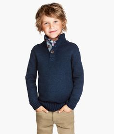 Check this out! Knitted cotton sweater with a ribbed collar and short button placket. - Visit hm.com to see more.