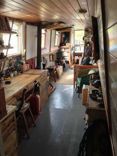 Beautiful unique narrowboat for sale. 'Antler' is an incredibly pretty narrowboat full of hand-craft Barge Interior, Interior Exterior, Small Space Living, Small Spaces, Living Spaces, Canal Boat Interior, Narrowboat Interiors, Houseboat Living, Japanese Interior