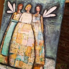 mixed media patchwork angels...Christy Tomlinson--primsacolor pencils, oil pastel, scraped paint, printed papers, etc.
