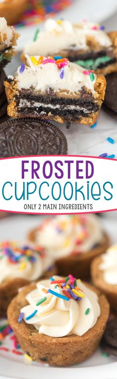 Frosted Cupcookies - these cupcakes are made of cookies, stuffed with Oreos, and frosted with vanilla frosting! The base recipe is only 2 ingredients so these are incredibly easy and SO GOOD!