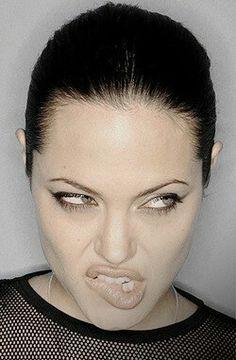 Angelina Jolie playful lip biting
