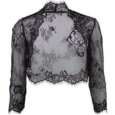 Buy Gina Bacconi Chantilly Scalloped Lace Bolero from our Women's Coats & Jackets range at John Lewis & Partners. Black Bolero Jacket, Formal Wedding Attire, Lace Bolero, Wedding Jacket, Textiles, Fringe Jacket, Evening Outfits, Chantilly Lace, Scalloped Lace