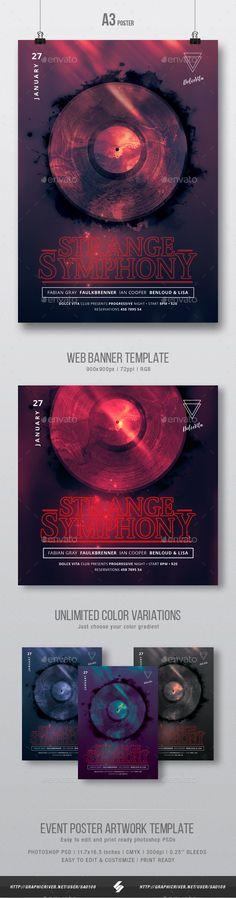 Strange Symphony - Dark Party Flyer / Poster Artwork Template A3