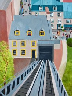 "Saatchi Art Artist Toni Silber-Delerive; Painting, ""Funicular in Quebec City"" #art"