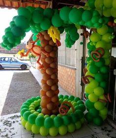 49 Trendy Ideas for baby shower ideas for boys monkey theme fun Jungle Theme Parties, Safari Theme Party, Jungle Party, Safari Birthday Cakes, Monkey Birthday, Balloon Tree, Balloon Flowers, Ballon Decorations, Birthday Decorations