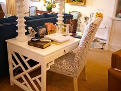 Quadrille, China Seas, Alan Campbell, Home Couture. Consider desk for vanity. But this is fabric company.