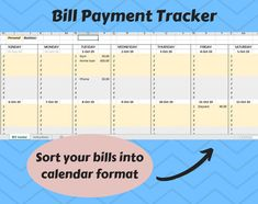 Excited to share this item from my #etsy shop: Digital Bill Payment Schedule / Tracker /Calendar - EXCEL- Instant digital download - Personal and Business expenses tracker