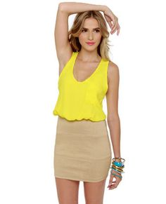 Cute Yellow Dress - Color Block Dress - $32.00