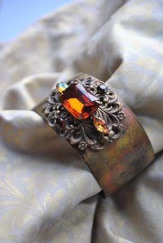 SALE Brass cuff bracelet adjustable madeira topaz by MoodsWingz, $99.00