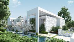 amazing-zen-garden-small-modern-single-house-design-with-white-exterior-color-decorating-ideas-ponds-and-sakura-tree