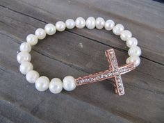 rose gold crystal cross bracelet with freshwater pearls