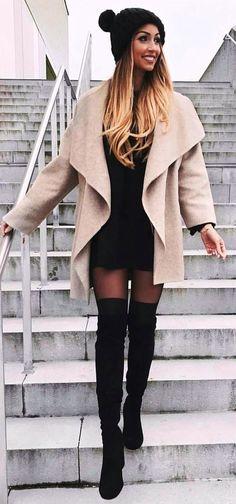 #winter #fashion / Cream Coat + Black Dress & Beanie