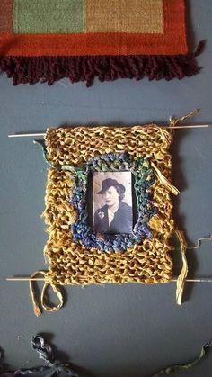 Sari silk yarn - knitted vintage picture frame