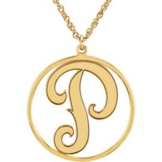 Sterling Silver Plated with 14kt Yellow Gold, Single Letter, Script Monogram Necklace. Available at Westmount Jewellers. Edmonton, Alberta. Contact: pinterest@westmountjewellers.com