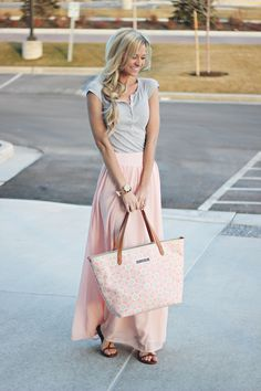 I would probably want to pair it with a nicer tank for our family photo. downtown tote c/o / chiffon skit on sale! / top (old) similar and here / druzy bracelet c/o Copeland - top . Maxi Outfits, Pink Outfits, Modest Outfits, Modest Fashion, Teen Fashion, Cute Outfits, Fashion Outfits, Womens Fashion, Fashion Ideas