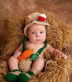 Crochet baby newborn through 12 mos fishing fisherman outfit photography props #Handmade