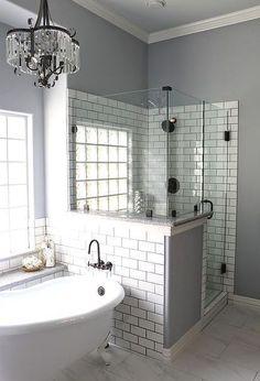master bath remodel, bathroom ideas, home improvement, Who doesn t love a glitzy chandelier #bathroomremodeling #homeimprovement #bathroomideas