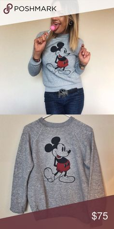 """""""Hey Mickey!"""" Vintage Mickey crew neck sweatshirt It's the perfect size! It's the perfect fit! It's soft and comfy- and flawless. 1970's Mickey Mouse pull over crew neck sweatshirt. Super flattering fit AND it's adorable! Fits like a modern adult SMALL. Measurements: 38 in chest, 25 in length, 23 in sleeve length. Vintage Tops Sweatshirts & Hoodies"""