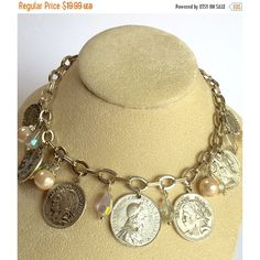 ON SALE Vintage Silver Coin Necklace Coin Necklace Pearl Crystal... ($18) ❤ liked on Polyvore featuring jewelry, silver coin jewelry, dangling jewelry, silvertone jewelry, vintage pearl jewelry and coin pearl jewelry
