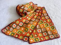 Granny square scarf love these fall colors too!