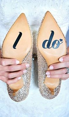 "wedding shoe stickers brides > vinyl decals. ""I do"" on the bottom of your shoes for the big day!"