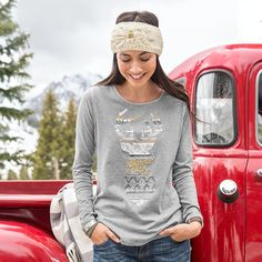 """CARIBOU TEE--A montage of embroidery techniques adds vintage charm to our caribou silhouette tee. Cotton. Machine wash. Imported. Exclusive. Sizes XS (2), S (4 to 6), M (8 to 10), L (12 to 14), XL (16). Approx. 26""""L."""