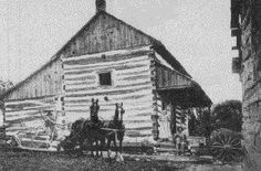 Germans in Wisconsin: Log home built by Christian Turck, Germantown, Washington County, who had emigrated from the German state of Nassau in 1846. Turck built the house the following year and sold it in 1849, some fifty years before this photo was taken. The building is preserved at Old World Wisconsin. (Whi X3 25839)