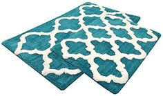 Last Day Deal Sale Microfiber Bath Mat Rug Set Plush Deluxe Micro Trellis Design with Spray Latex Back, Absorbent SuperSoft Plush Heavy Construction Machine Washable,Teal, 21x34/17x24 In Set of 2