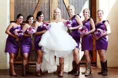 Purple Bridesmaid Dresses & Cowgirl Boots! - PHOTO SOURCE • ZOOMWORKS